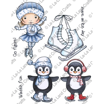 La-La Land Crafts Cling Stamp WINTER FUN Set 5319