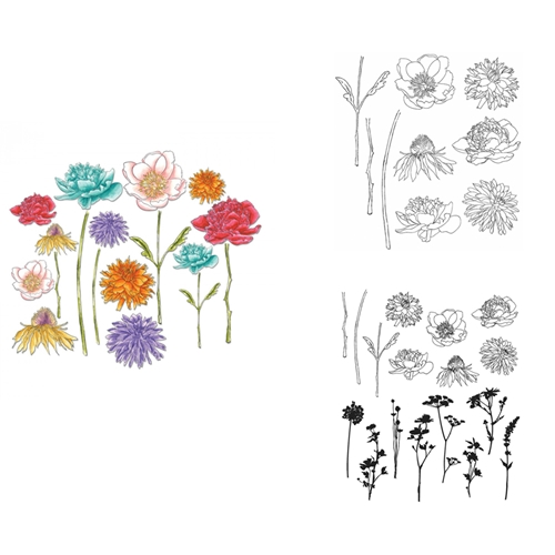 Tim Holtz Sizzix FLOWER GARDEN AND MINI BOUQUET Framelits Die And Cling Stamp Set THS269* Preview Image
