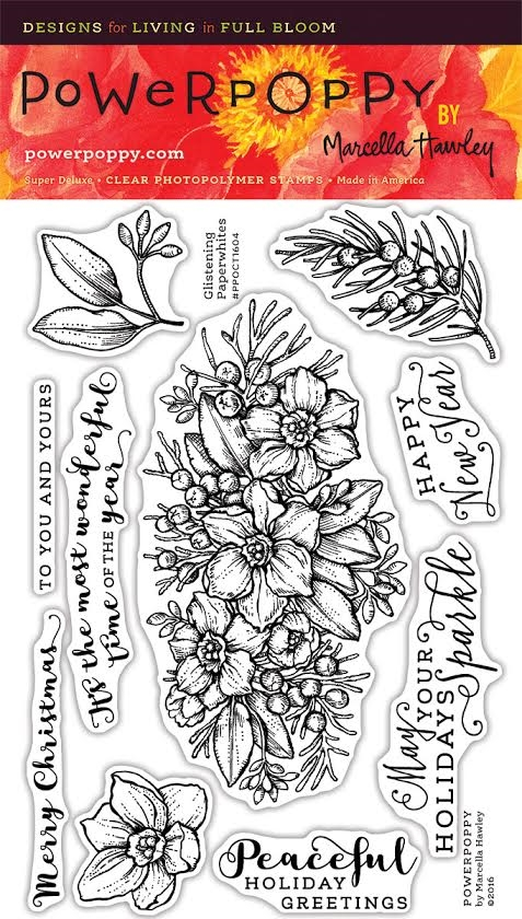 Power Poppy GLISTENING PAPERWHITES Clear Stamp Set PPOCT1604 zoom image