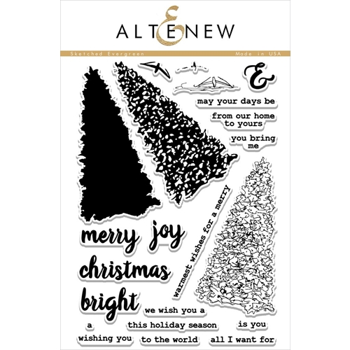 Altenew SKETCHED EVERGREEN Clear Stamp Set ALT1414 Preview Image