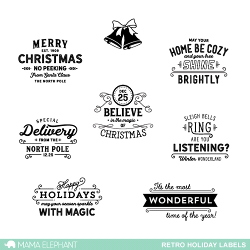 Mama Elephant Clear Stamp RETRO HOLIDAY LABELS Preview Image