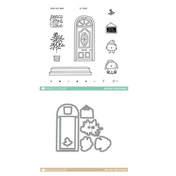 Mama Elephant Clear Stamp and Die MEPT293 Meowy Woofmas SET