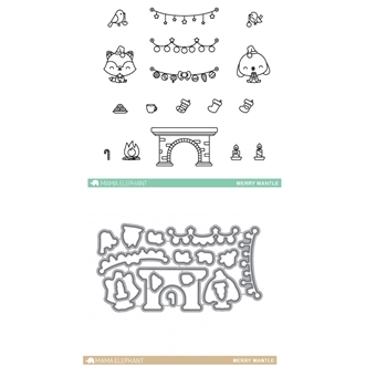 Mama Elephant Clear Stamp and Die MEPT297 Merry Mantel SET