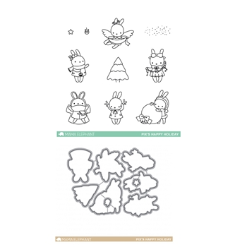 Mama Elephant Clear Stamp and Die MEPT301 Pix's Happy Holiday SET