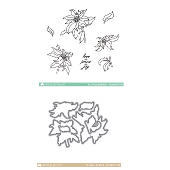 Mama Elephant Clear Stamp and Die MEPT304 Floral Series Poinsettia SET