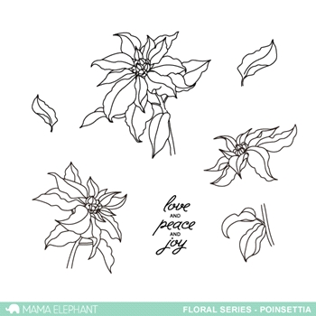 Mama Elephant Clear Stamp Floral Series POINSETTIA