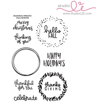 Studio L2E SEASONAL WREATH FALL WINTER Clear Stamp Set
