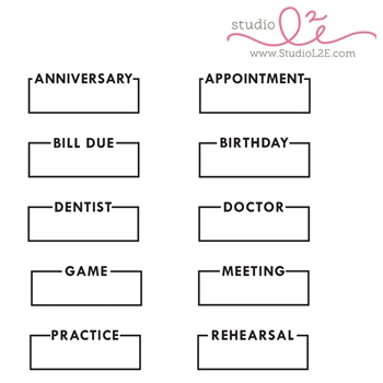 Studio L2E BOXED REMINDERS Clear Stamp Set