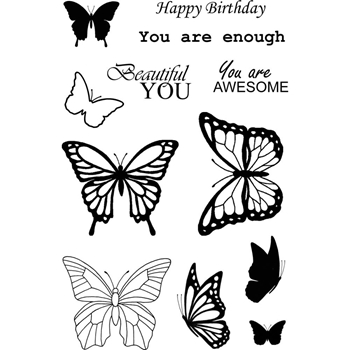 Jane's Doodles BUTTERFLIES Clear Stamp Set 742989