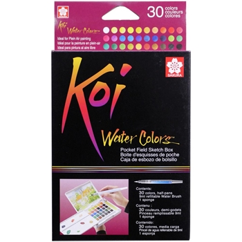 Sakura KOI WATERCOLORS SKETCH BOX 30 Colors With Waterbrush XNCW30N