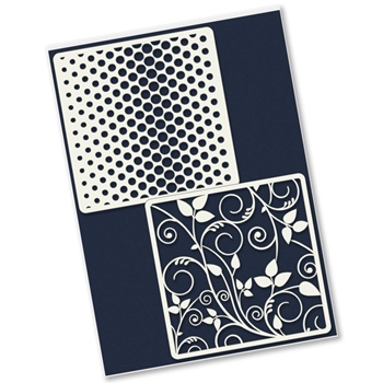 Claritystamp LEAFY SWIRLS AND DOTTY WAVE Petite Stencils STEPA0037644