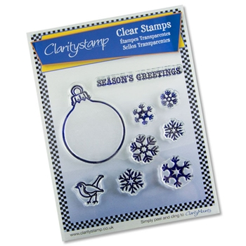 Claritystamp CHRISTMAS BAUBLE AND SNOWFLAKE Clear Stamps And Mask STACH10365A5