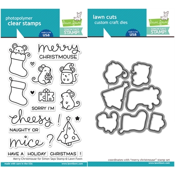 Lawn Fawn MERRY CHRISTMOUSE Clear Stamps and Die Set LF1012 From the Vault
