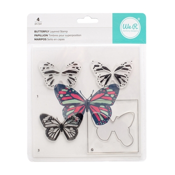 We R Memory Keepers BUTTERFLY Layering Stamp Set 663091