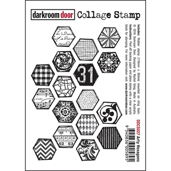 Darkroom Door Cling Stamp ARTY HEXAGONS Collage Rubber UM DDCS027