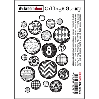Darkroom Door Cling Stamp ARTY CIRCLES Collage Rubber UM DDCS025
