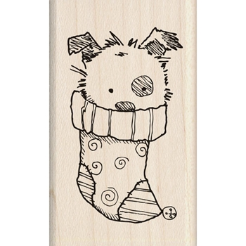 Inkadinkado Mounted Rubber Stamp CHRISTMAS PUPPY 60-01338