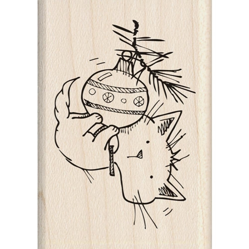 Inkadinkado Mounted Rubber Stamp CHRISTMAS KITTY 60-01339 Preview Image