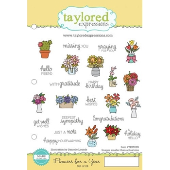 Taylored Expressions FLOWERS FOR A YEAR Cling Stamp Set TEFS199