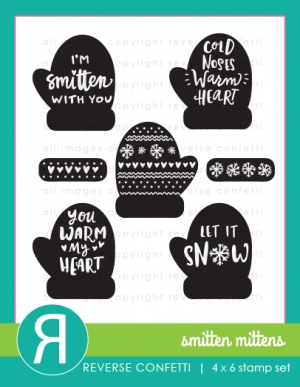 Reverse Confetti SMITTEN MITTENS Clear Stamp Set  zoom image