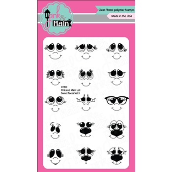 Pink and Main SWEET FACES SET 3 Clear Stamp Set 022436
