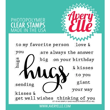 Avery Elle Clear Stamp SIMPLY SAID HUGS Set