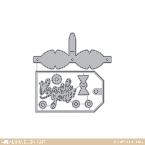 Mama Elephant Creative Cuts Steel Die BOWTIFUL TAG  Preview Image
