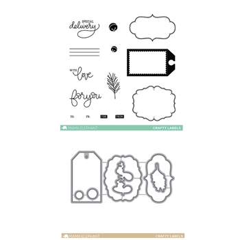 Mama Elephant Clear Stamp and Die MEPT316 Crafty Labels SET