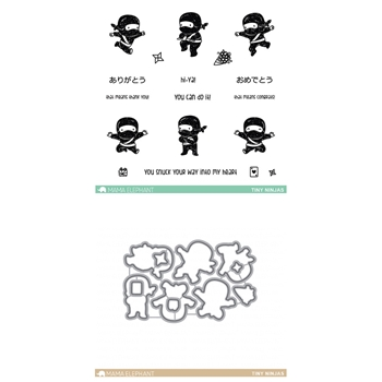 Mama Elephant Clear Stamp and Die MEPT313 Tiny Ninjas SET