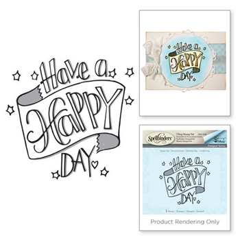 DSC-036 Spellbinders Tammy Tutterow HAPPY DAY 3D Shading Cling Stamp