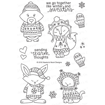Newton's Nook Designs SWEATER WEATHER Clear Stamp Set 20161101