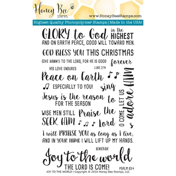 Honey Bee JOY TO THE WORLD Clear Stamp Set HBST44