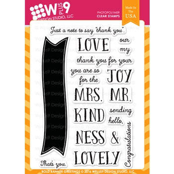 Wplus9 BOLD BANNER GREETINGS Clear Stamps CLWP9BBG