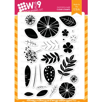 Wplus9 FEATHERS AND FLORALS Clear Stamps CLWP9FFL