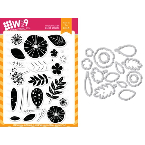 Wplus9 FEATHERS AND FLORALS Clear Stamp And Die Combo WPLUS366 Preview Image