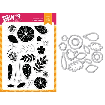 Wplus9 FEATHERS AND FLORALS Clear Stamp And Die Combo WPLUS366