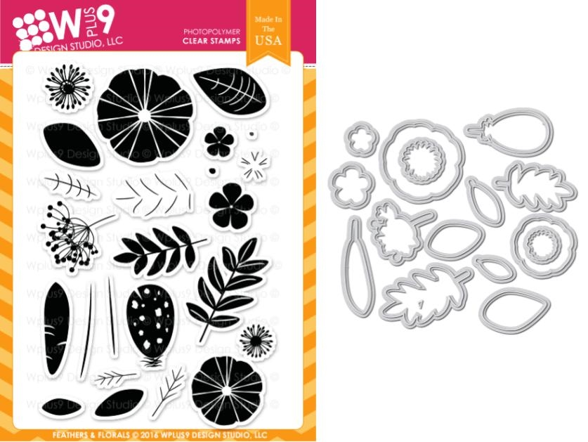 Wplus9 FEATHERS AND FLORALS Clear Stamp And Die Combo WPLUS366 zoom image