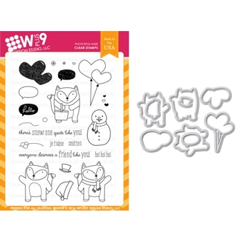 Wplus9 FRIENDS FOR ALL SEASONS WINTER Clear Stamp And Die Combo WPLUS369