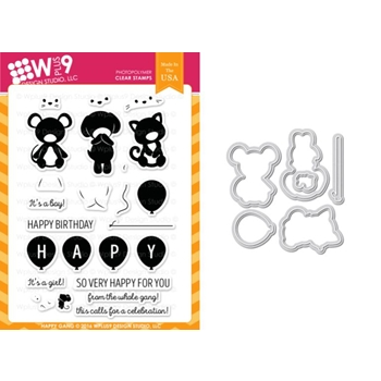 Wplus9 HAPPY GANG Clear Stamp And Die Combo WPLUS372