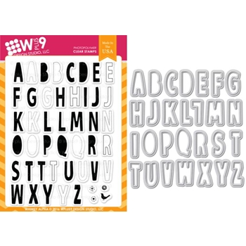 Wplus9 WHIMSY ALPHA Clear Stamp And Die Combo WPLUS375