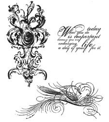 Tim Holtz Cling Rubber Stamps FANCY FLOURISH SET Stampers Anonymous