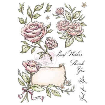 Wild Rose Studio ANTIQUE ROSES Clear Stamp Set AS004
