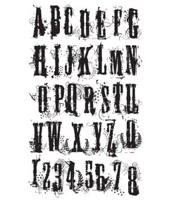 Tim Holtz Cling Rubber Stamp GRUNGE ALPHABET Stampers Anonymous CMS008 zoom image