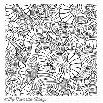 My Favorite Things WAVY COLORING BOOK BACKGROUND Cling Stamp MFT BG86