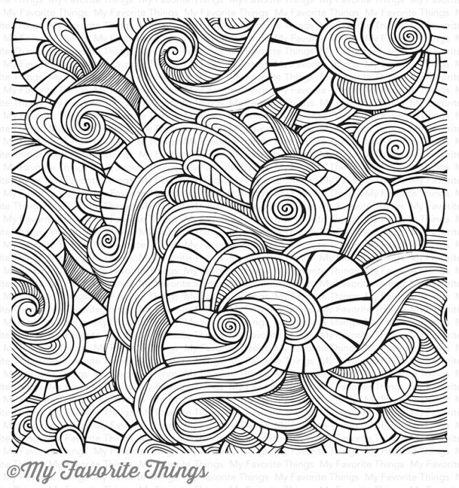 My Favorite Things WAVY COLORING BOOK BACKGROUND Cling Stamp MFT BG86 zoom image