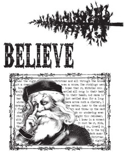Tim Holtz Cling Rubber Stamps JUST BELIEVE Christmas CMS031