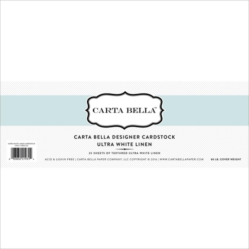 Carta Bella 12 x 12 ULTRA WHITE LINEN CARDSTOCK 80LB CBDC202 Preview Image