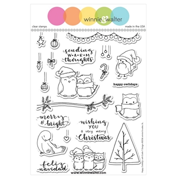 Winnie and Walter HAPPY OWLIDAYS With Evelin T Designs Clear Stamps WW066