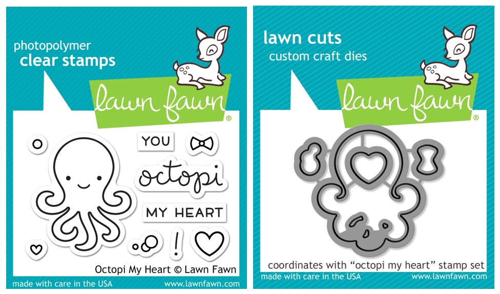 Lawn Fawn Set VLF16SETOMH OCTOPI MY HEART Clear Stamps and Dies zoom image