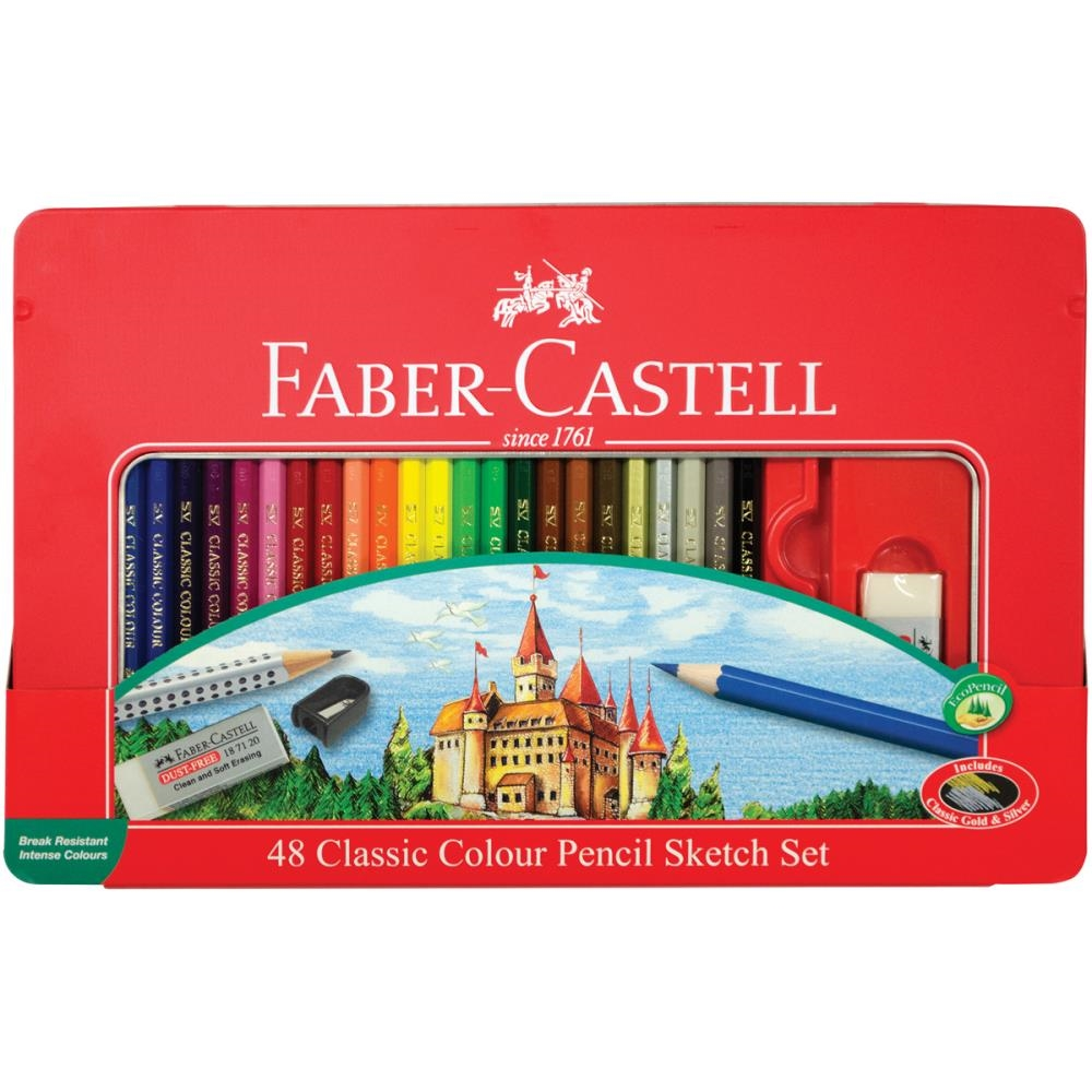 Faber-Castell CLASSIC COLOR PENCIL SKETCH 48 Tin Set 115888 zoom image